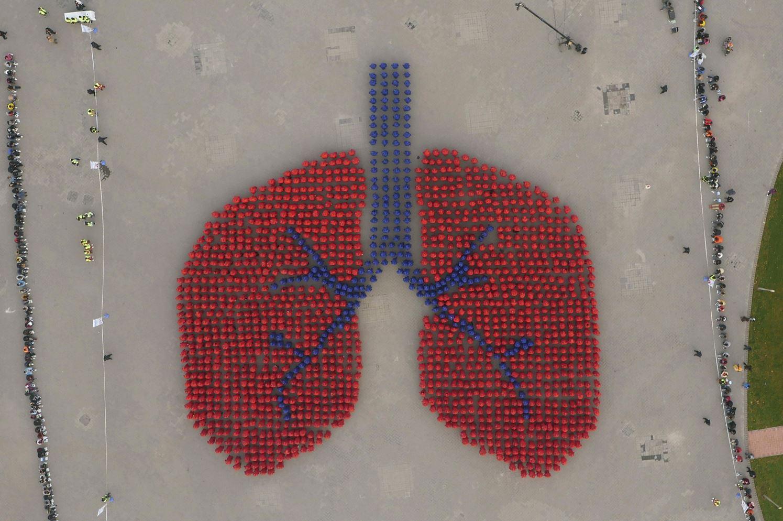 Полторы тысячи человек изображают лёгкие в Пекине, надеясь повлиять на экологическую обстановку. Они попали в книгу рекордов Гиннеса за самое крупное изображение человеческого органа.